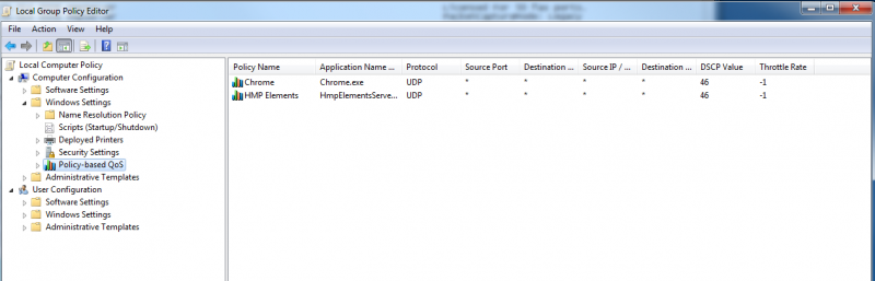 Local Group Policy Editor QoS Settings