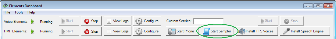 Voice Elements Dashboard - Start Sampler