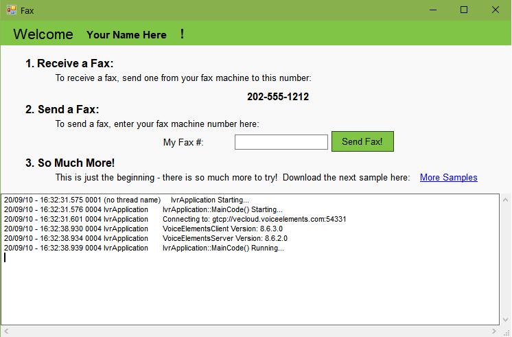 Screenshot of Faxing Solution Demo
