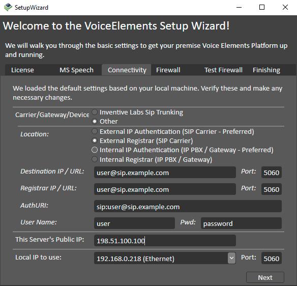 Screenshot of VoiceElements Setup Wizard