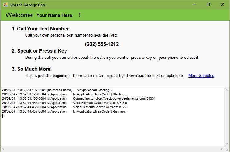 Screenshot of Speech Recognition Sample Solution