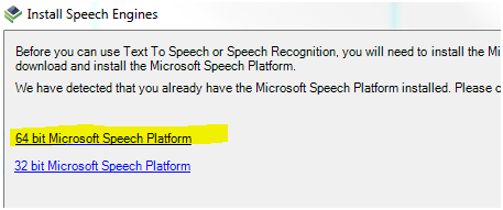 Screenshot - Select Microsoft Speech Platform