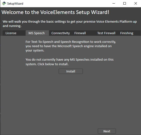 Voice Elements Dashboard - Testing Speech Recognition in Setup Wizard