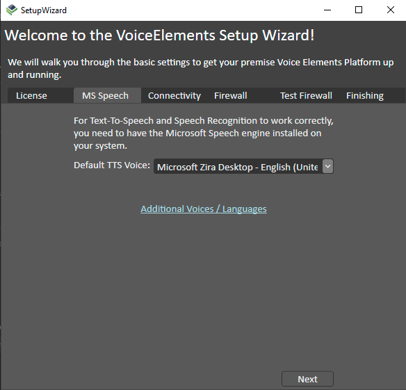Voice Elements Dashboard - Testing Speech Recognition