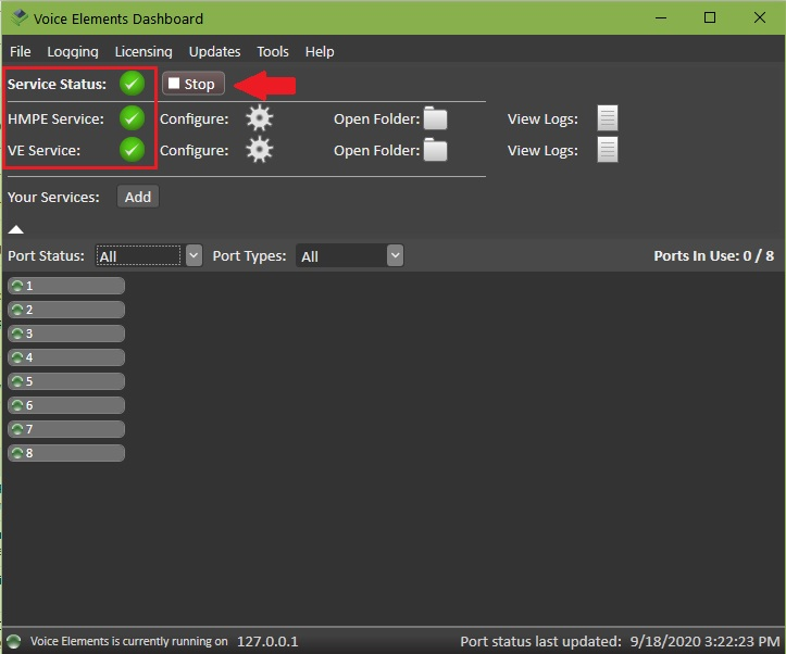 Screenshot - VE Premise Dashboard: Service Status