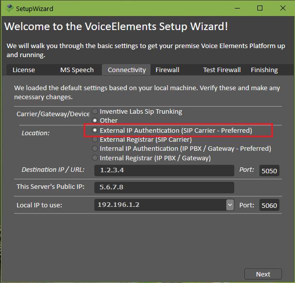 VE Premise Setup - Connectivity with External SIP Carrier Authentication