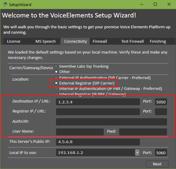 Screenshot VE Premise Wizard: Connectivity to External IP Registrar