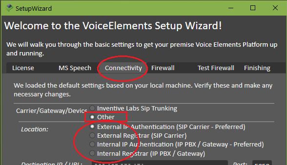 VE Premise Setup - Connectivity with External SIP