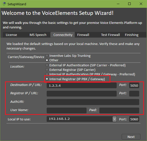 Screenshot VE Premise Wizard: Connectivity to Internal Registrar