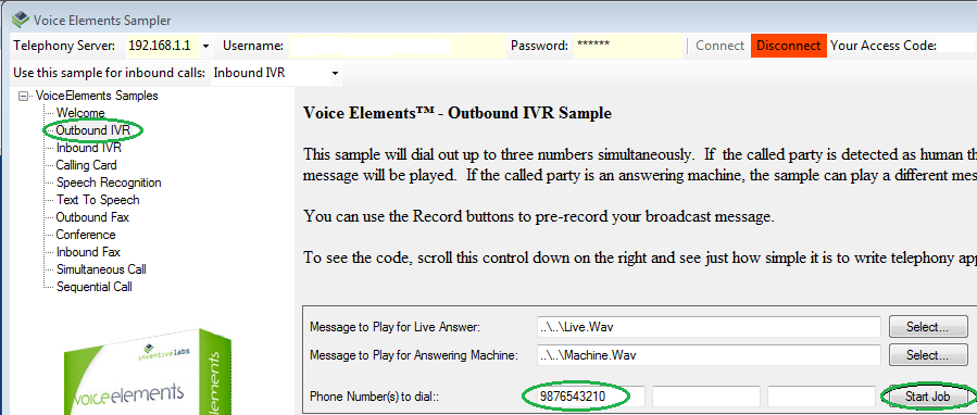 Voice Elements Sampler - Outbound Call