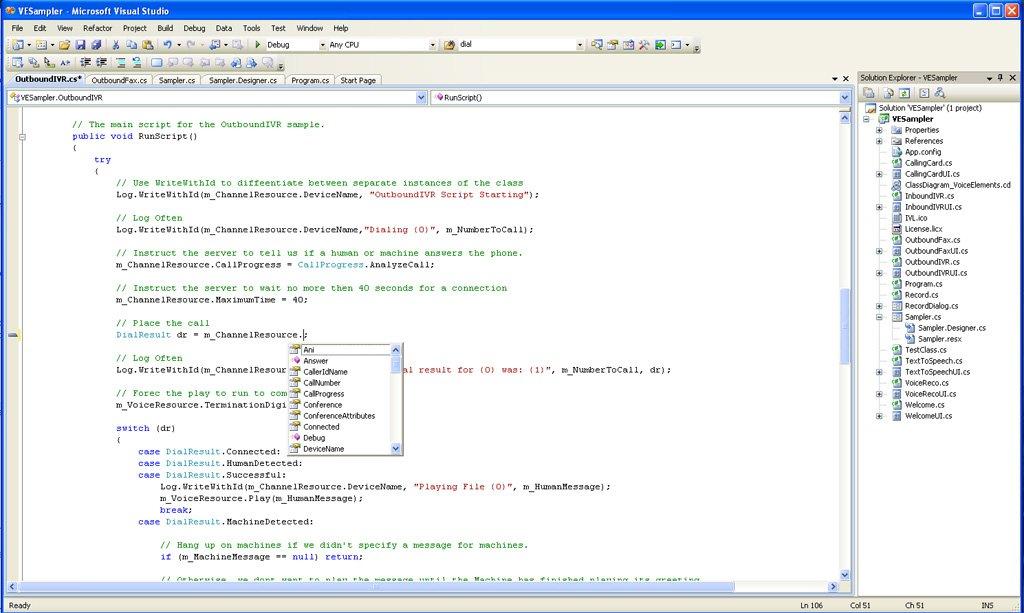 Screenshot Voice Application in Visual Studio