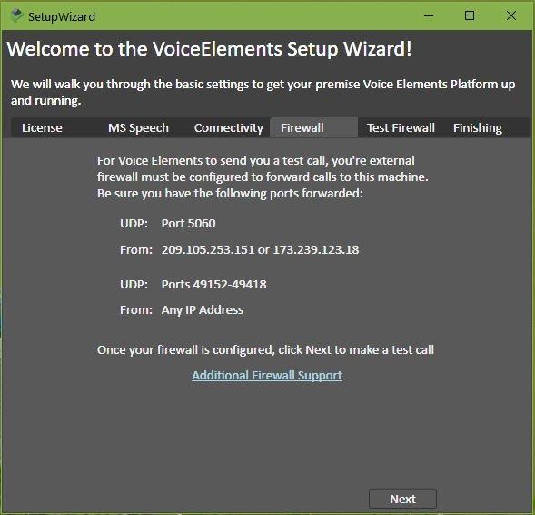 VE Setup Wizard - Firewall