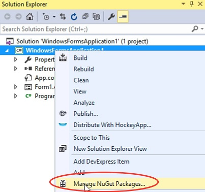 Manage NuGet Packages Screenshot
