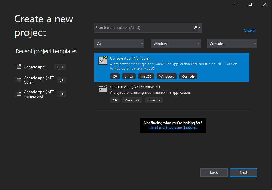 Screenshot - Create a New Project in Visual Studio