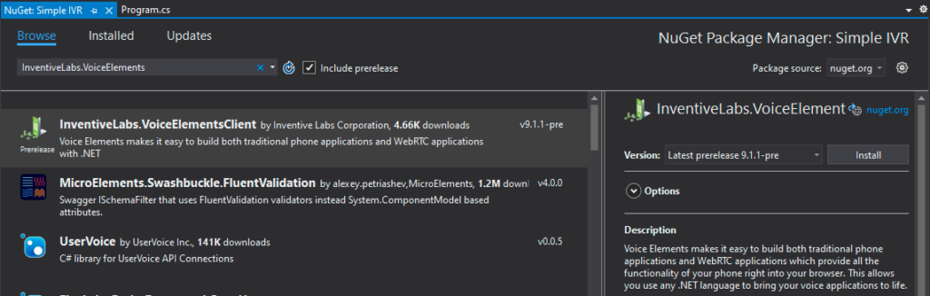 Screenshot - Installing the Voice Elements Client