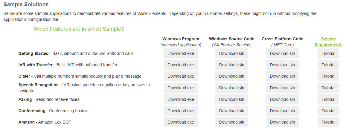 Voice Elements Customer Portal - Sample Solutions and Tutorials