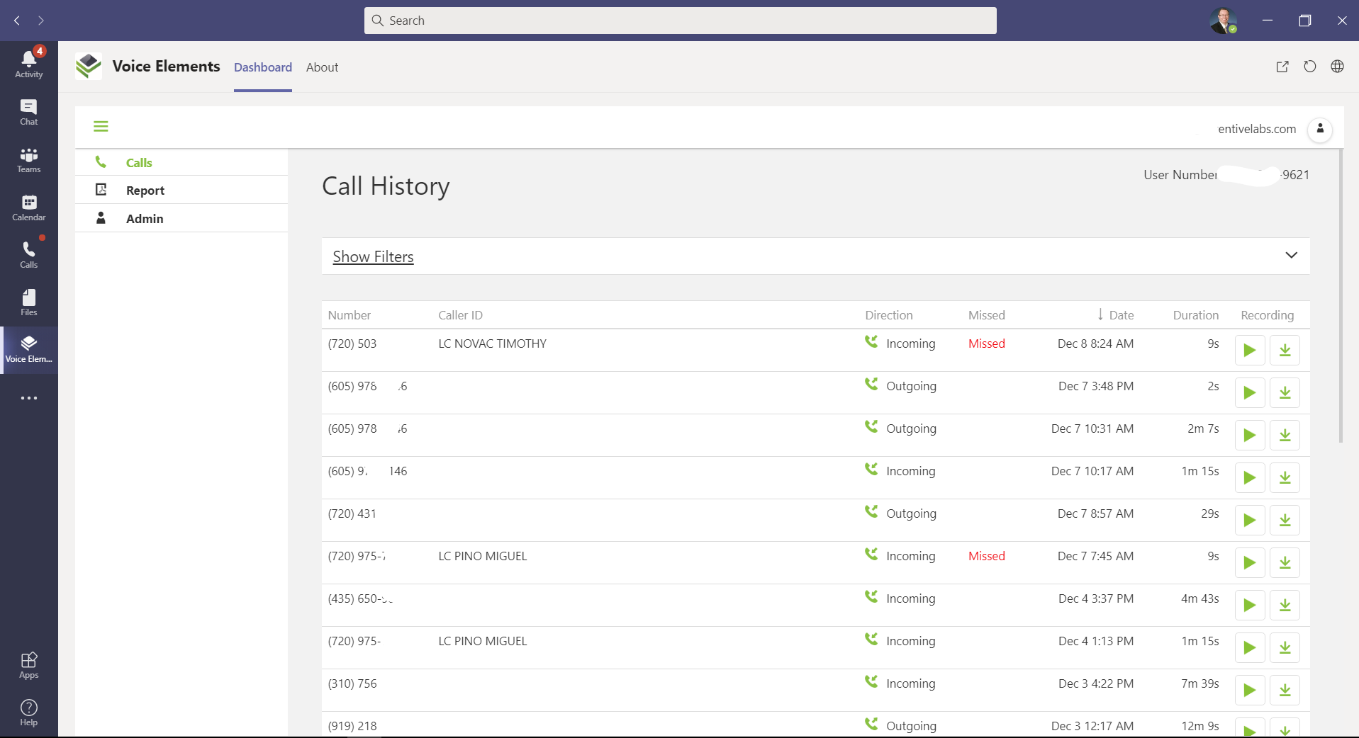 Voice Elements Calling Plan - Call History