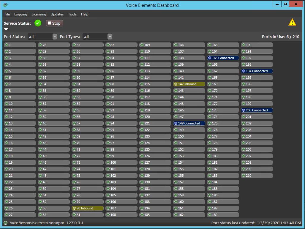 Voice Elements Dashboard Port Service Status